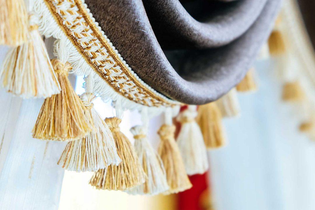 A close up shot of curtain trims