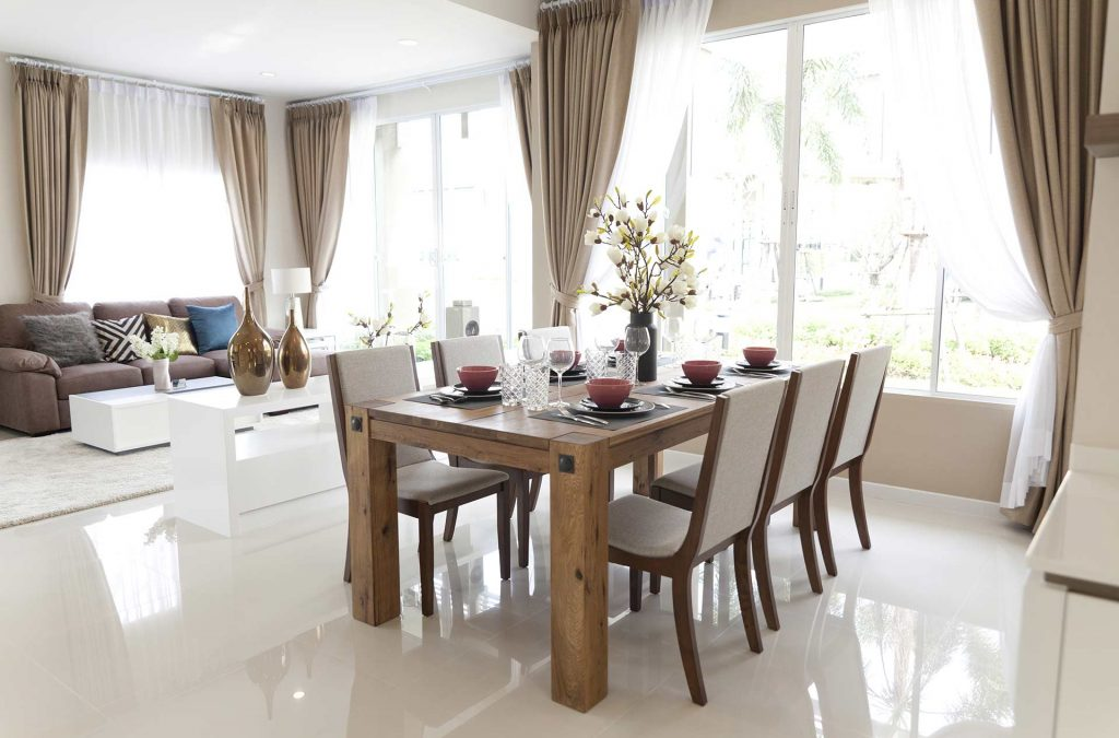 A wide view of a custom designed dining room.